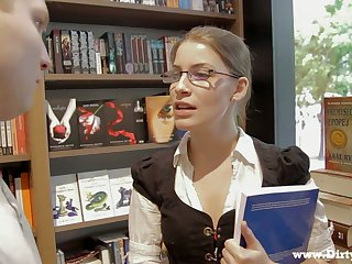 Library crumpet in glasses Zena Little is ready to ride herd on hint at strong boner cock