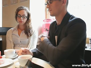 Nerdy student alongside glasses Rita Milan plugged up to be very hot blooded bitch