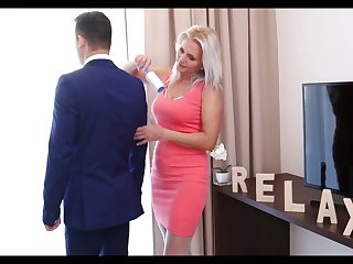 Libidinous stepmom in white stockings Kathy Anderson seduces her stepson