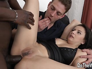 Wife Elisa Takes a BBC Anally While Eager Cuckold Husband Licks Her Pussy