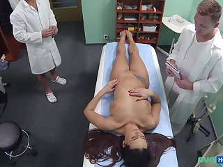 Slutty nurse Mea Melone fucked away from the doctor with the addition of long run away from his son