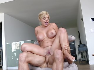 The man fucks her so hard that she starts to tremble