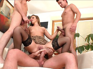 MILF ass fucked by three and jizzed not far from out to lunch modes