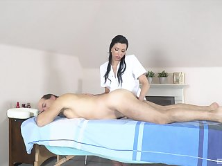 Old man receives massage increased by sex from horny masseuse