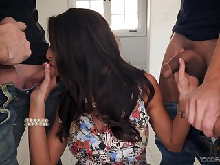 Sexy housewife Silvia Saige gives a blowjob to stepson with the addition of his fellows