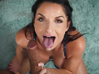 MILF sucks this dick like a goddess and makes sure with swallow