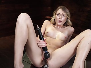 Blonde bangs machine and squirts