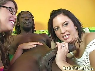 Interracial FFM 3-way with pornstars Katie Thomas with an increment of Kaycee Dean