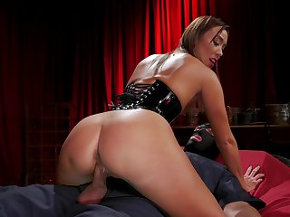 Asian mistress Christy Adore dominates a resulting and then fucks him on top