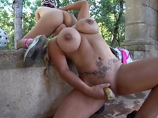 Mom and daughter squirting in the woods