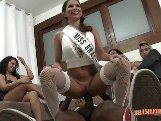 Big-busted hot Latina party group sex