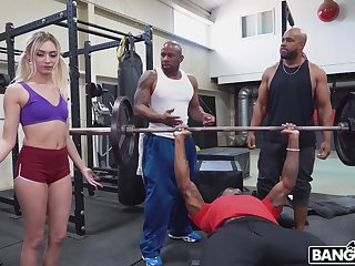 Cute white woman interrupts a workout coupled with overage up getting fucked wide of dastardly men