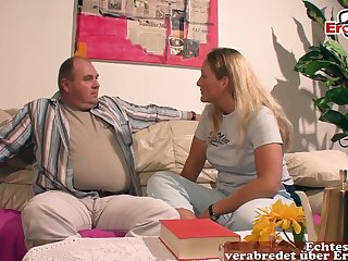 German light-complexioned big tits milf old lady fuck