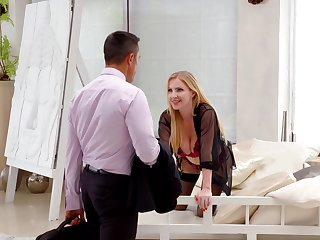 MILF wife greets her hubby with open arms coupled with wet waiting pussy