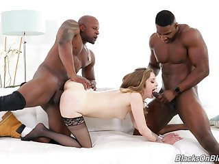 Full hardcore with a white floozy avid to swallow both BBCs