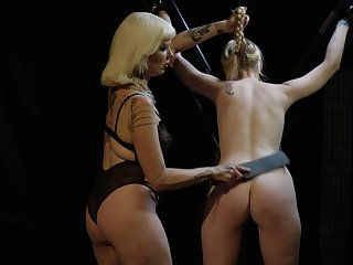 Kinky torture session between two blonde amateur sluts. HD