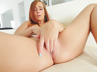 Home alone redhead pleases her cherry with soft finger fucking solo