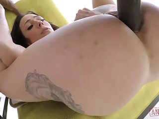 Superb characterless brunette at hand big, firm tits, Harlow Harrison had anal sex at hand a black guy