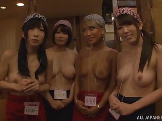 Kinky Japanese chicks join forth to pleasure one lucky stranger