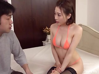 Japanese soaks breast in sperm after romantic sex