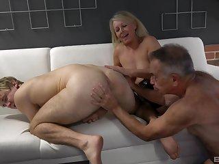 Anal, Big natural tits, Big tits, Blowjob, Granny, Natural, Old, Panties, Threesome, Tits, Young,