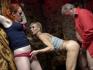 Aroused females portion senior cock wide kinky charm